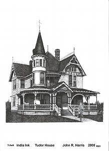 Tudor House Drawing - Tudor House by John  R Harris