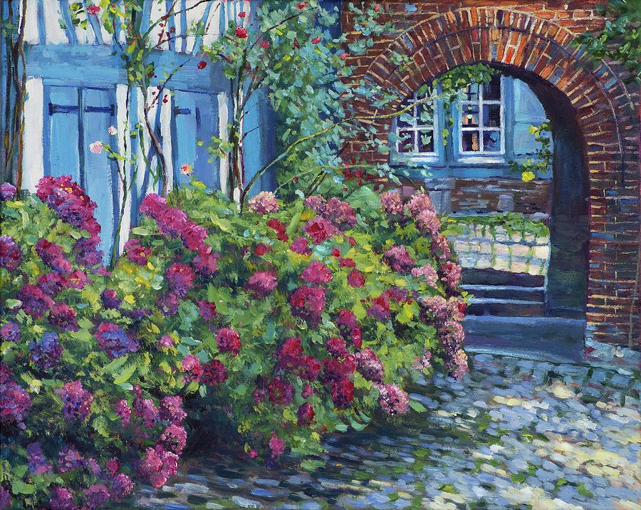 Tudor Hydrangea Garden Painting By David Lloyd Glover