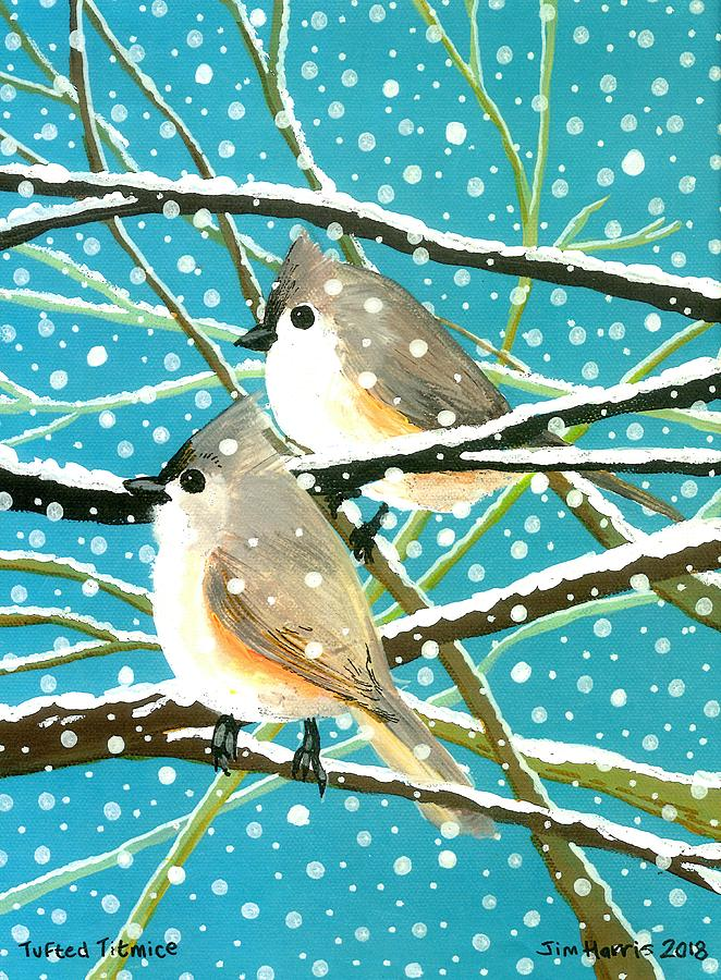 Tufted Titmice by Jim Harris