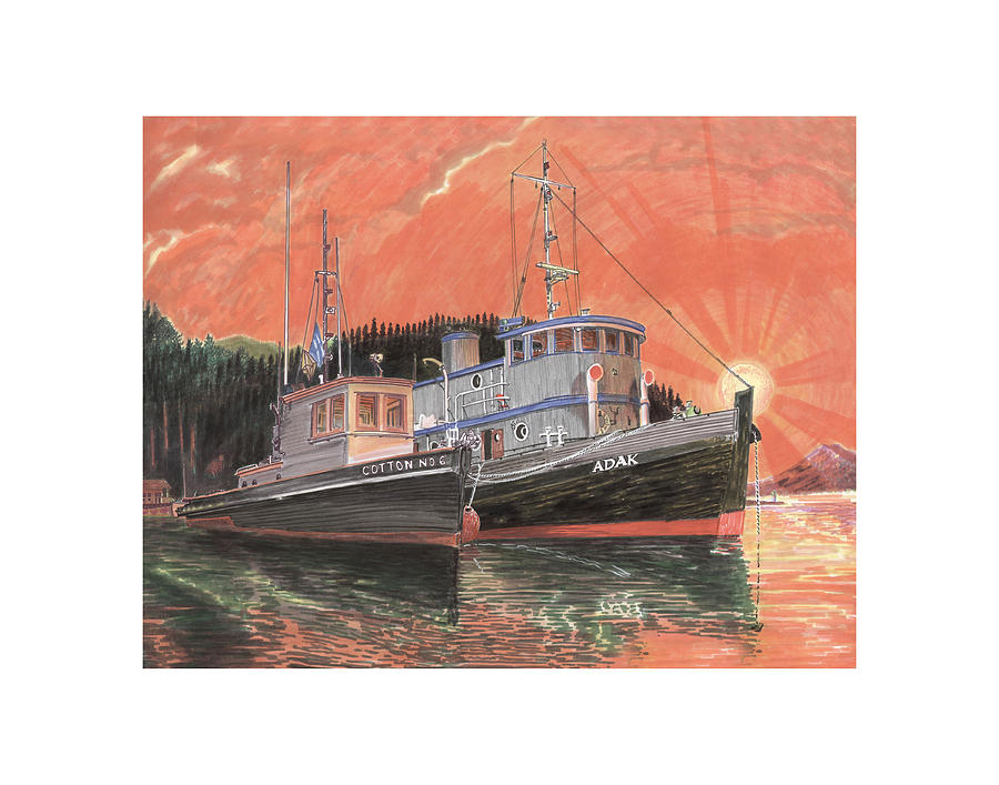 Marinas Painting - Tug Boats Anchored In Red Sky by Jack Pumphrey