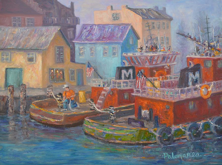 Tug Boats Portsmouth Maritime Painting by Amber Palomares