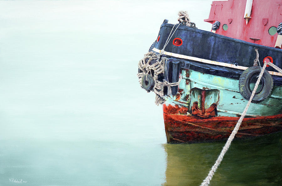 Calm Reflections Painting - Tug by Mark Woollacott