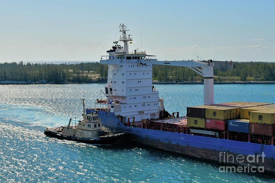 Tugboat Photograph - Tugboat Helping Container Ship Out Of Harbor by Janette Boyd