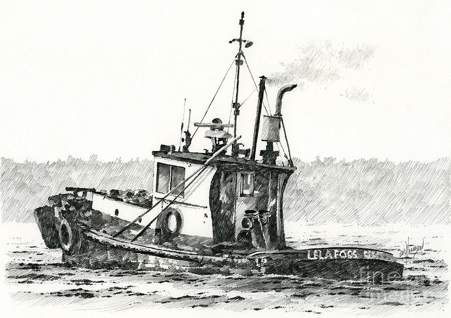 Tug Drawing - Tugboat Lela Foss by James Williamson