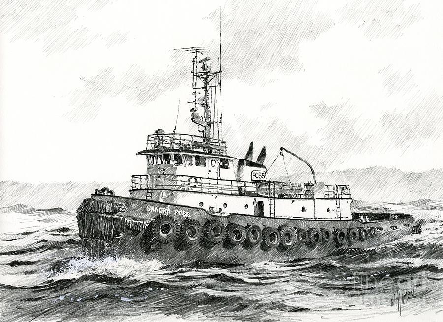Tugboat Art Prints Drawing - Tugboat Sandra Foss by James Williamson
