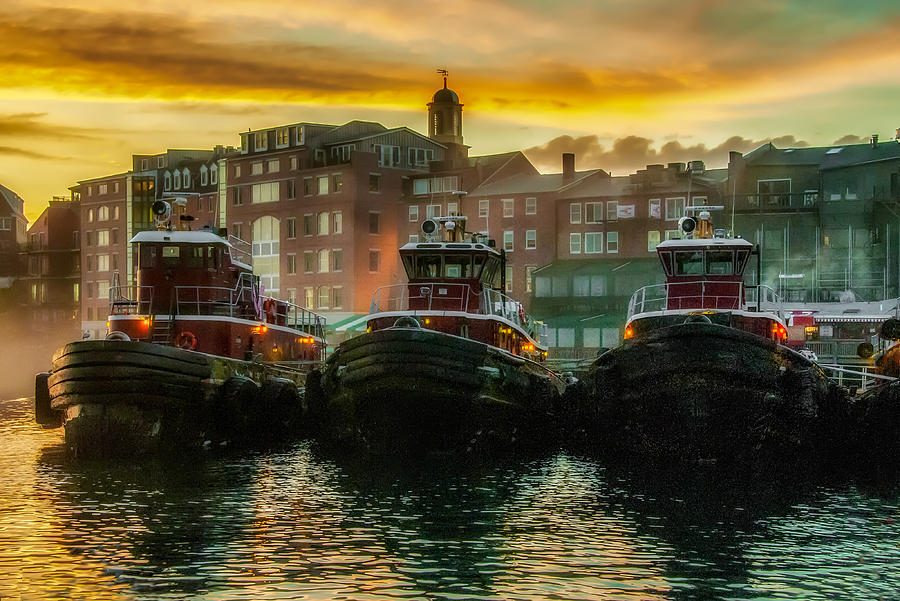 Tugboats in Portsmouth Harbor at Dawn by Thomas Lavoie
