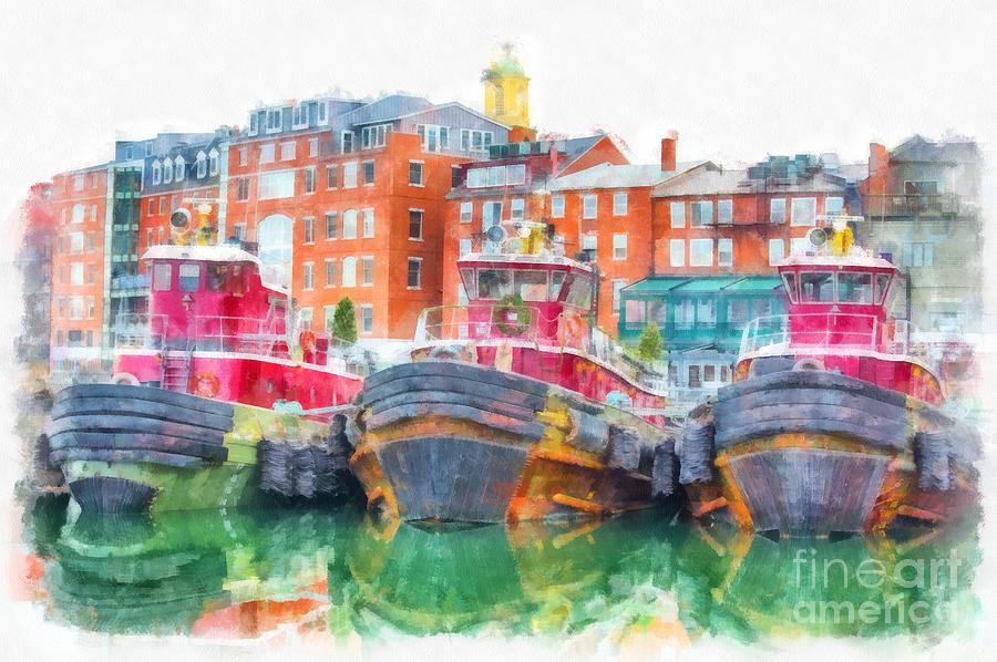 Tug Digital Art - Tugboats Portsmouth New Hampshire Watercolor by Edward Fielding