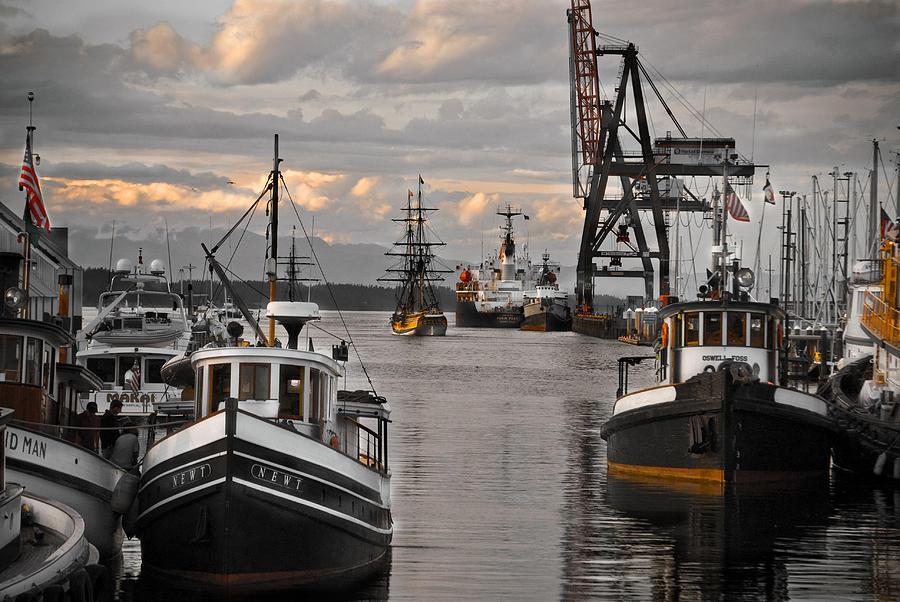 Tugs Photograph - Tugs And Lady Washington by Craig Perry-Ollila