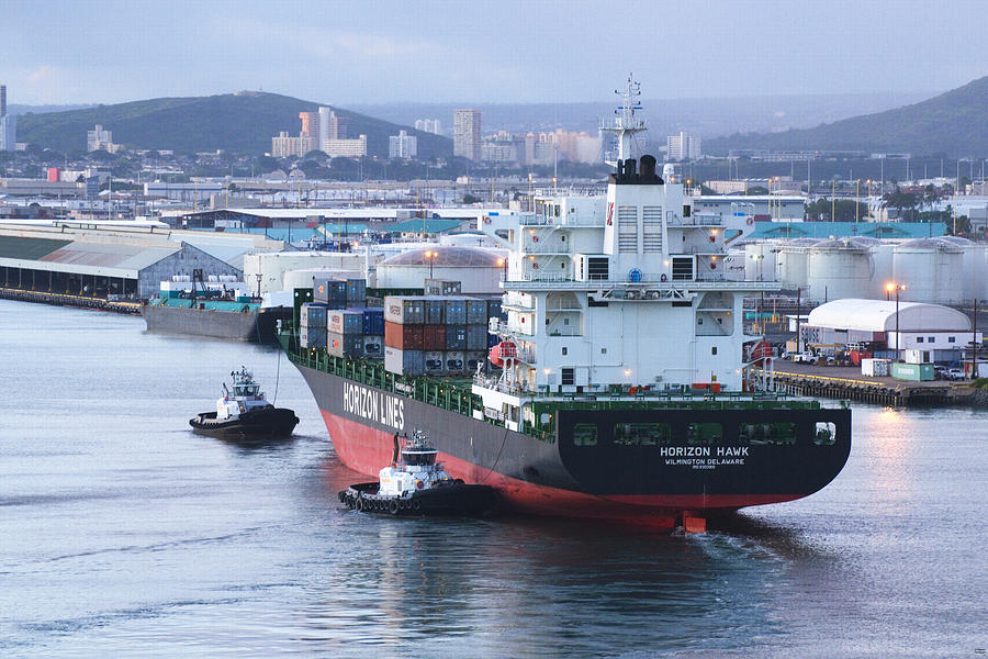 Container Ship Photograph - Tugs In Action by Richard Henne