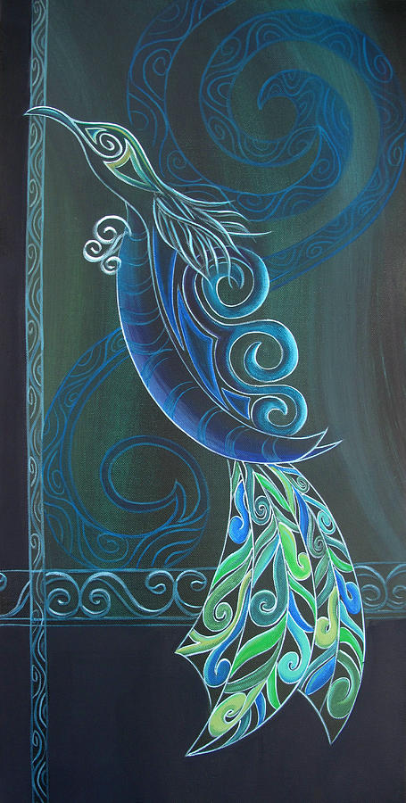 Tui Painting - Tui Bird 2 by Reina Cottier