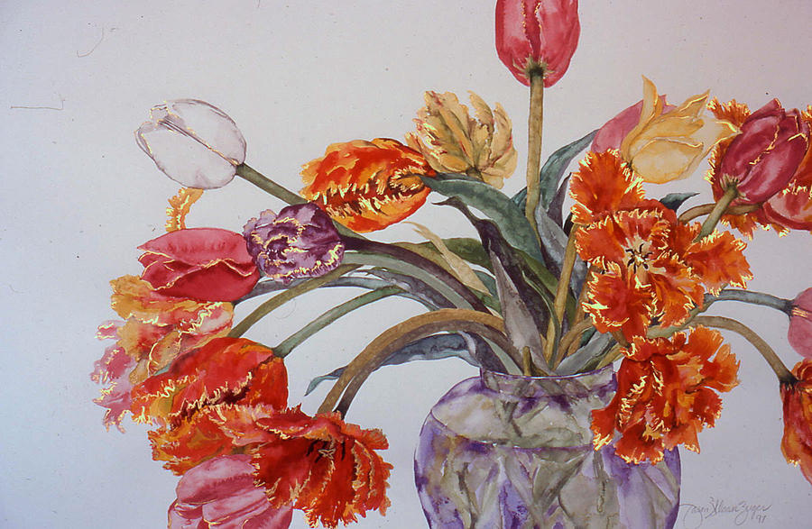 Watercolor Painting - Tulip Bouquet - 12 by Caron Sloan Zuger