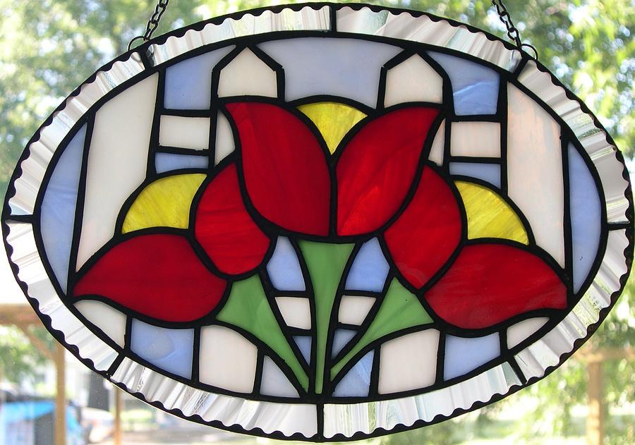 Tulip Glass Art - Tulip Fence by Liz Lowder