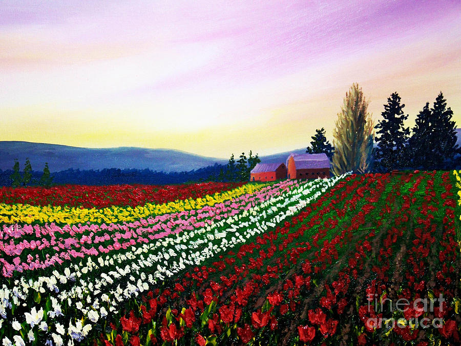 Tulip Field Painting By Christine Swanson