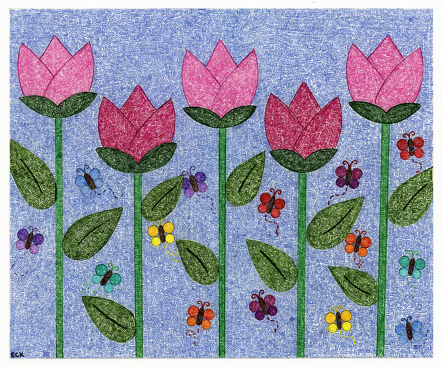 Tulip Garden Drawing By Emily Kim