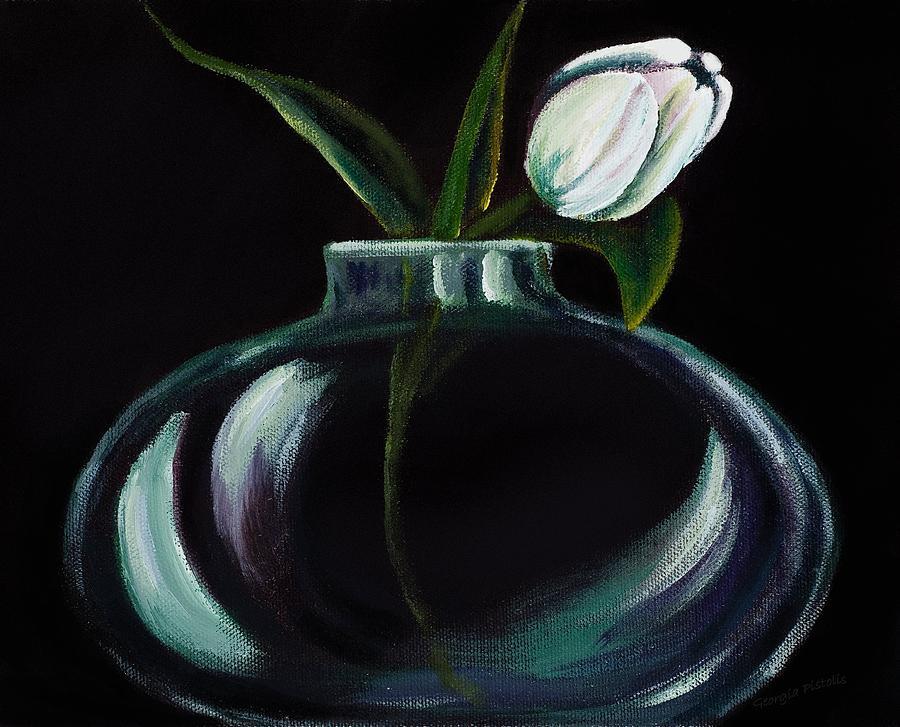 Tulip Painting - Tulip In A Vase by Georgia Pistolis