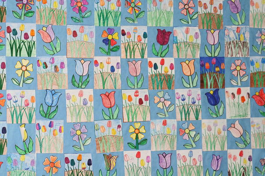 Tulips Photograph - Tulip Quilt by Lori Brandon