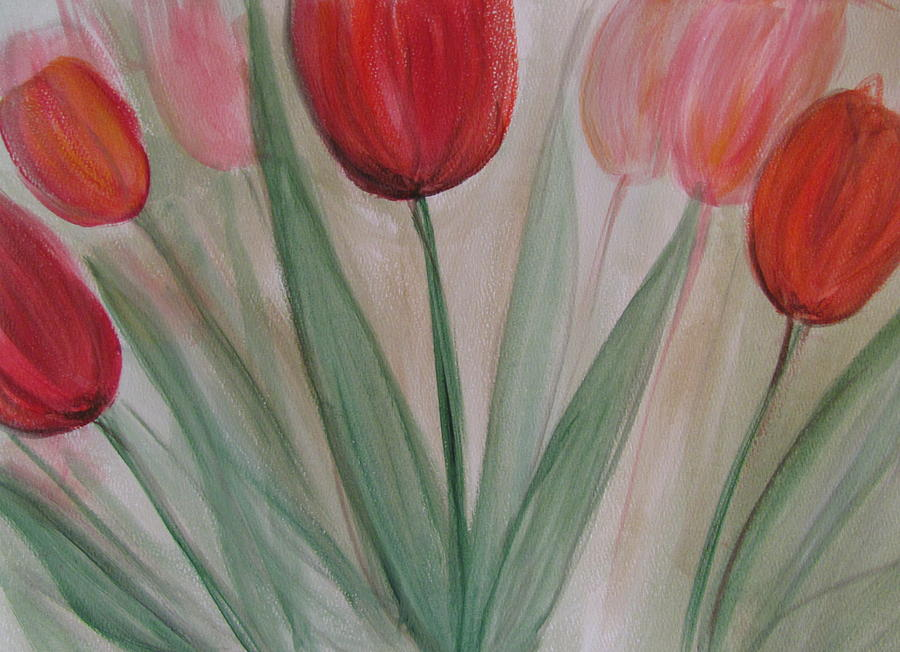 Tulips Painting - Tulip Series 4 by Anita Burgermeister