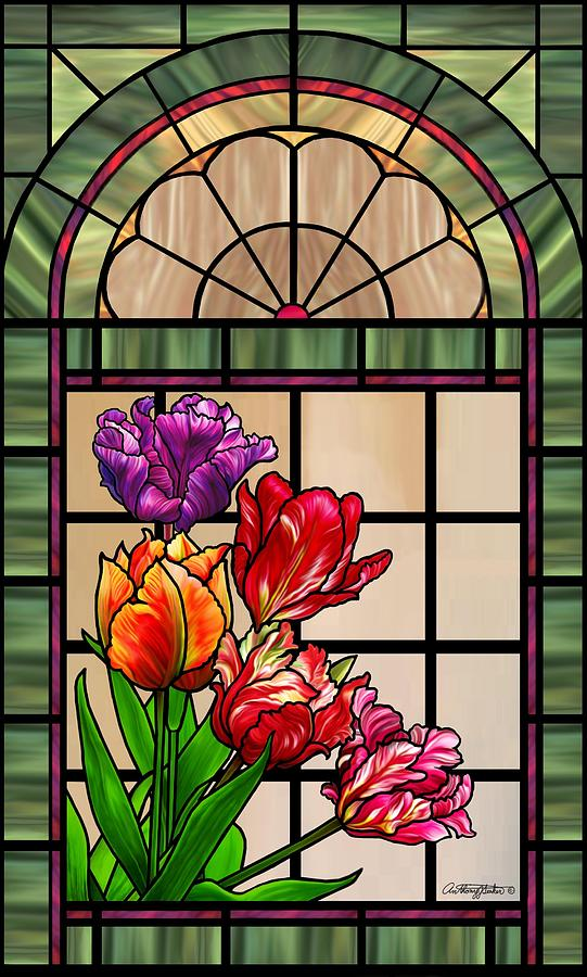 Tulip Stained Glass Window Design Mixed Media By Anthony Seeker