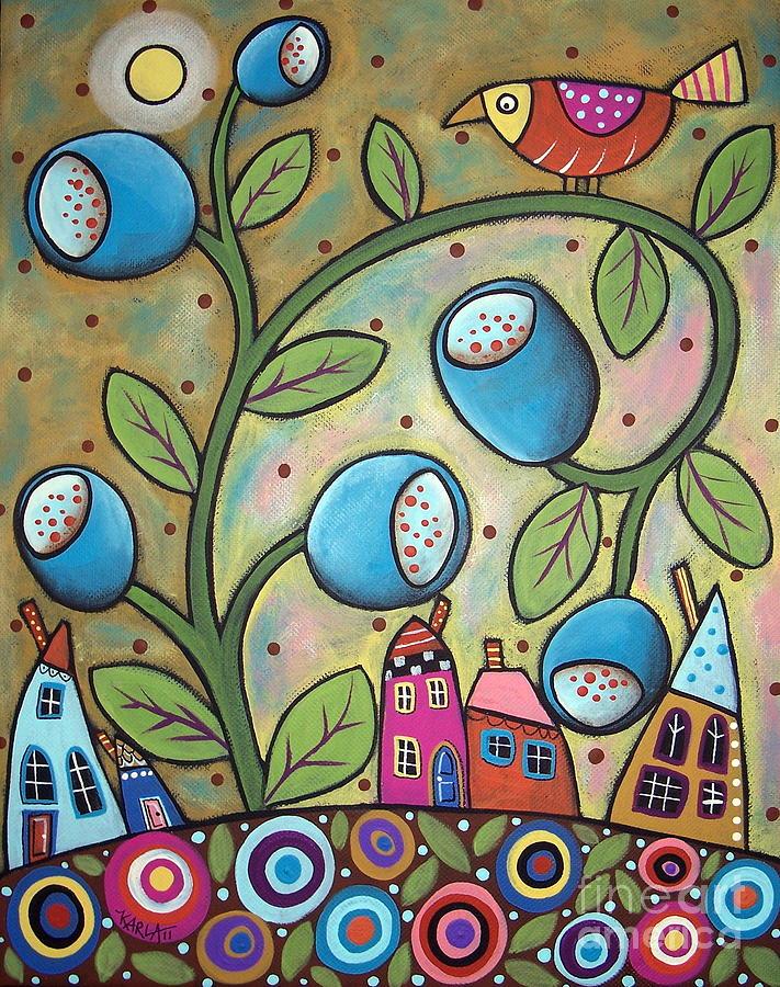 Bird Tulip Houses Painting - Tulip Town by Karla Gerard