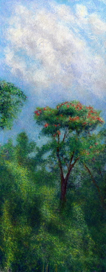 Rainbow Colors Pastel Painting - Tulip Tree by Kenneth Grzesik