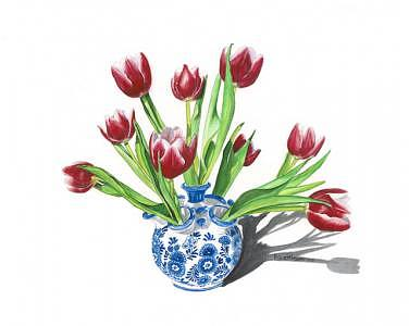 Vase Painting - Tulip Vase by Patti Gettinger