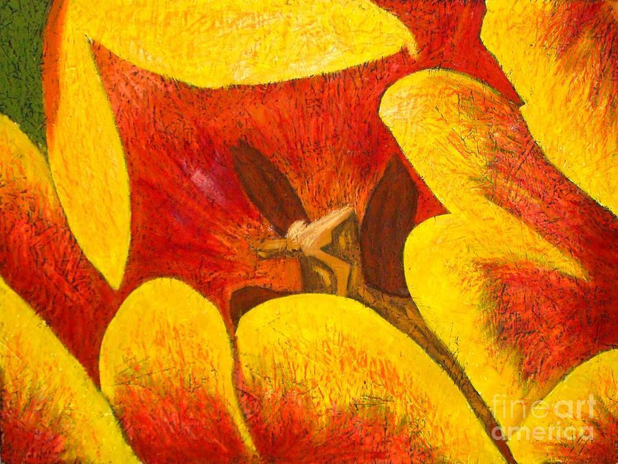 Botanical Mixed Media - Tulipan Anaranjado by Karla Kernz