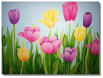 Tulips Painting - Tulips by Robin MacKenzie