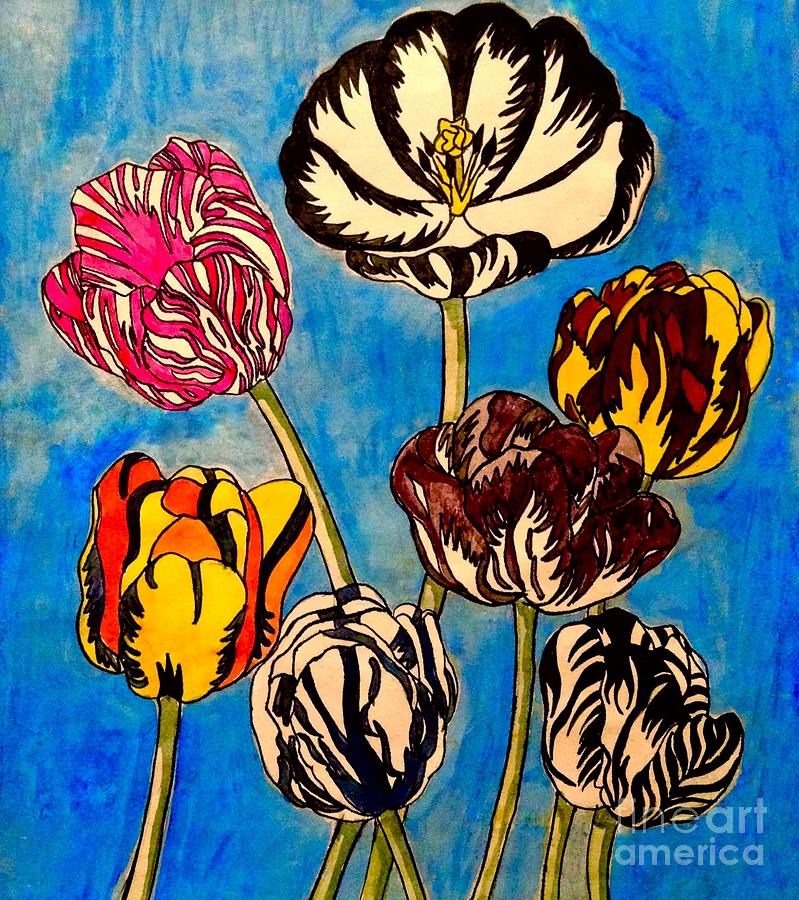 Tulips After Redoute Painting
