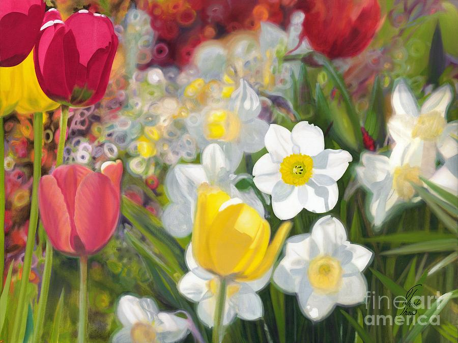 Tulips Painting - Tulips And Daffodils by Nicole Shaw