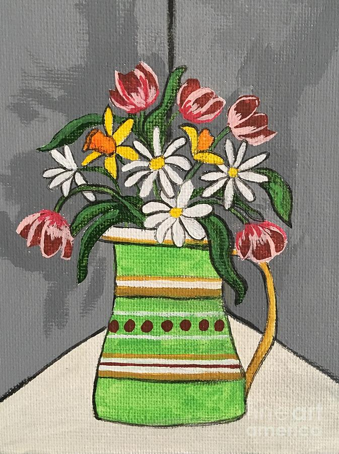 Flowers Painting - Tulips And Daisies by Lindsay Smith