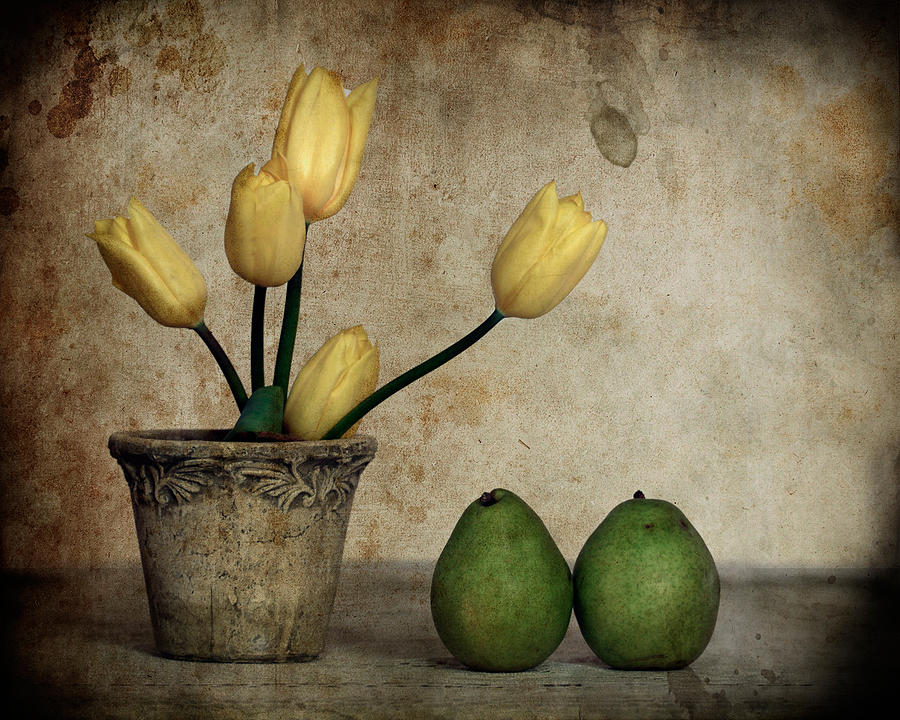 Still Life Photograph - Tulips And Green Pears by Levin Rodriguez