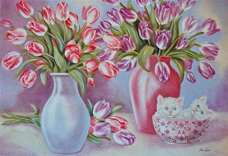Floral Painting - Tulips And Kittens by Jan Law