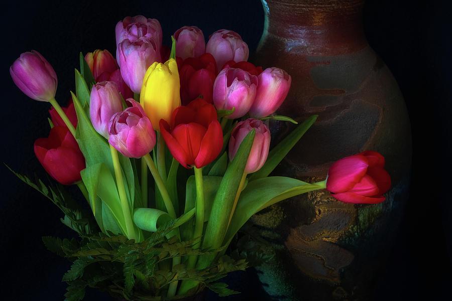 Tulips and Raku Vase by Jade Moon