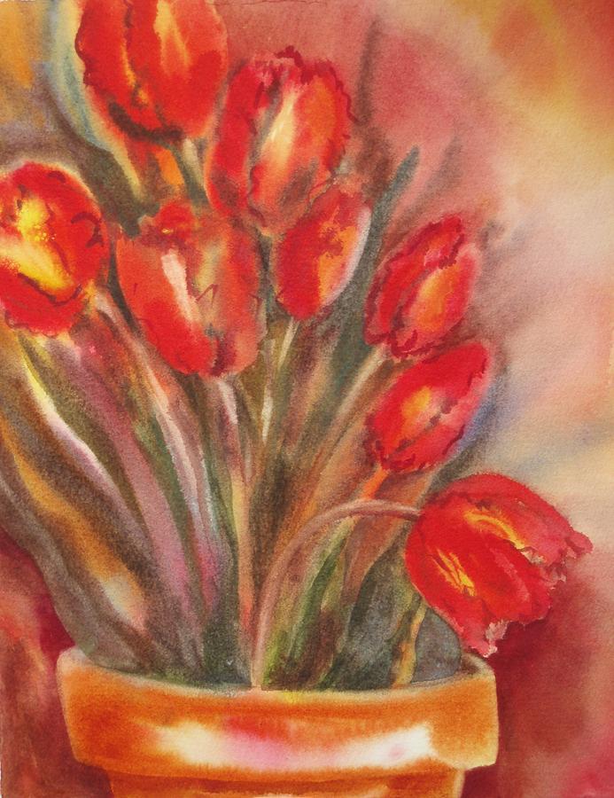 Tulips Painting - Tulips For David by Tara Moorman