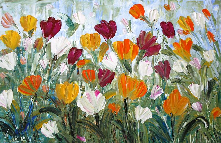 Oil Painting - Tulips Garden by Luiza Vizoli