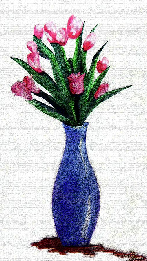 Water Colors Painting - Tulips In A Tall Vase by Farah Faizal
