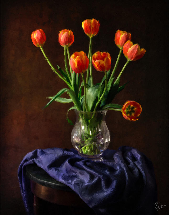 Tulips In A Vase Faux Oil Painting Photograph By Endre Balogh