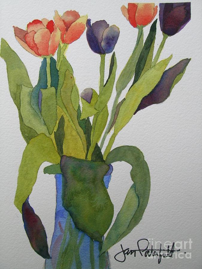 Tulip Painting - Tulips In Blue Vase by Jeff Friedman