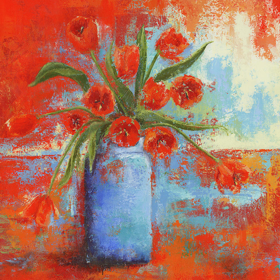 Tulips in Blue Vase by Nicole Daniah Sidonie