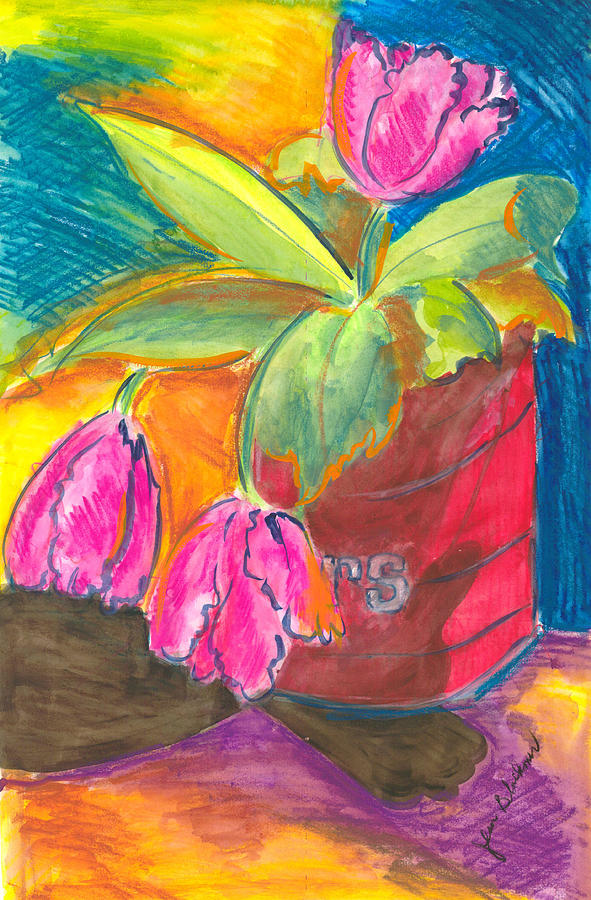 Flowers Painting - Tulips In Can by Jean Blackmer