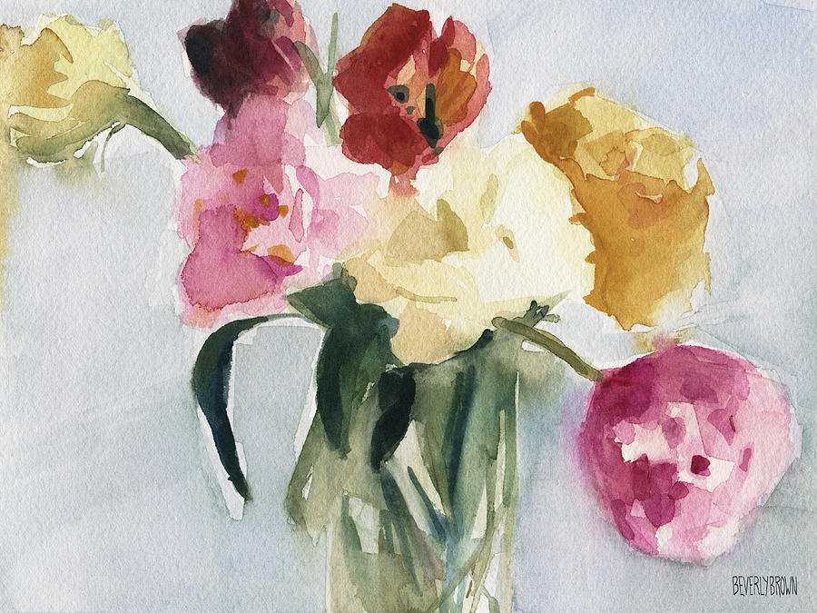 Floral Painting - Tulips In My Studio by Beverly Brown
