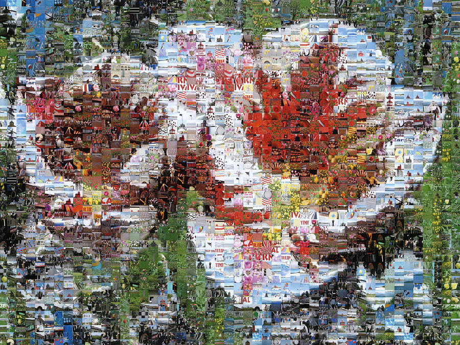 Lighthouse Photograph - Tulips In Springtime Photomosaic by Michelle Calkins