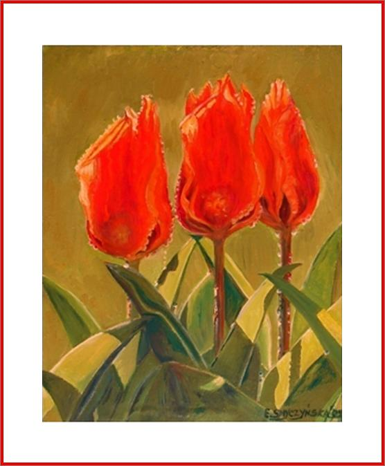 Tulips In The Morning Painting by Ewald Smykomsky at Gallery Cafe of Kathlin Austin