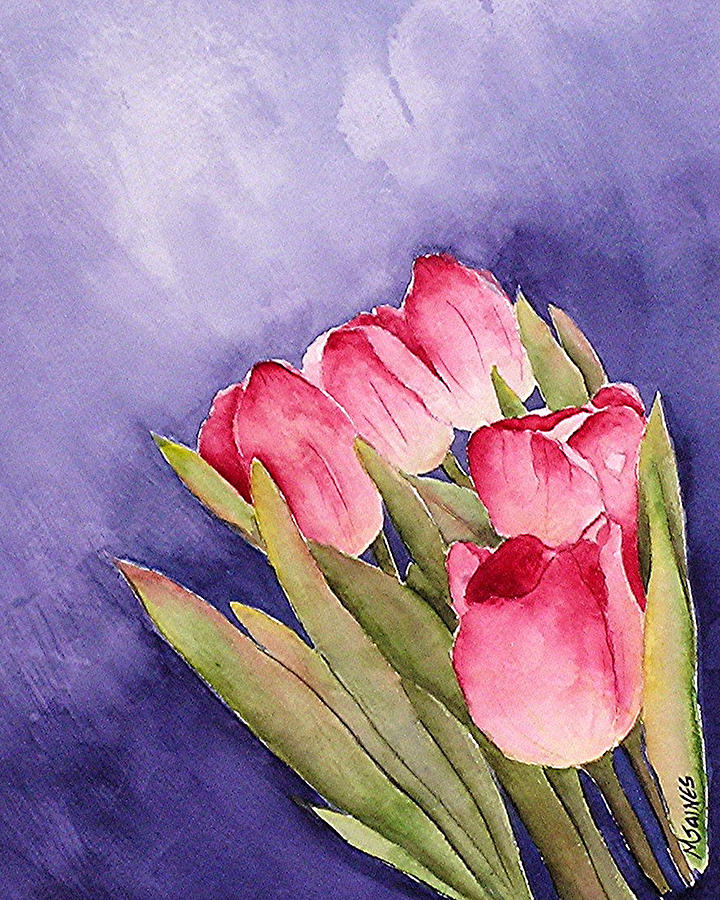 Red Tulips Painting - Tulips In The Wind by Mary Gaines