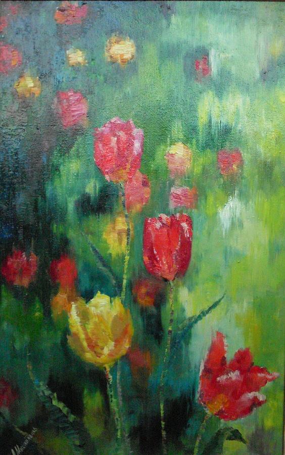 Flowers Painting - Tulips by Mikhaylichenko Aleksandlra Peter