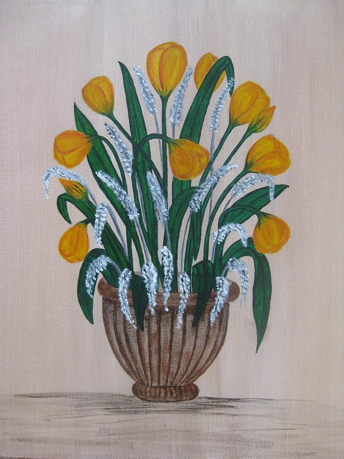 Loral Painting - Tulips On A Clay Pot by Swathi Kurunji