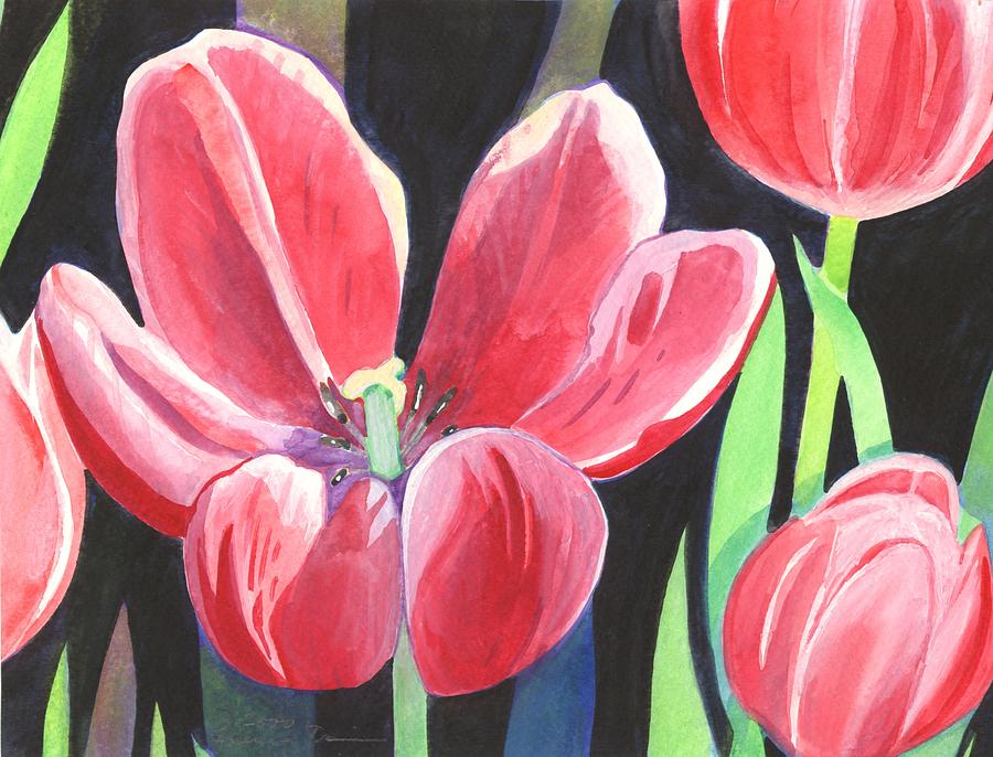 Flower Painting - Tulips On Black by Helena Tiainen