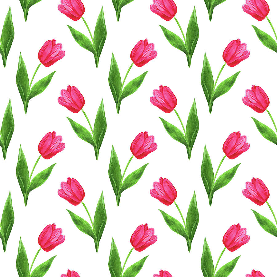 tulips pattern painting by ekaterina efanova