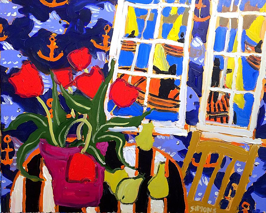Brian Simons Painting - Tulips, Pears, Sailboats by Brian Simons