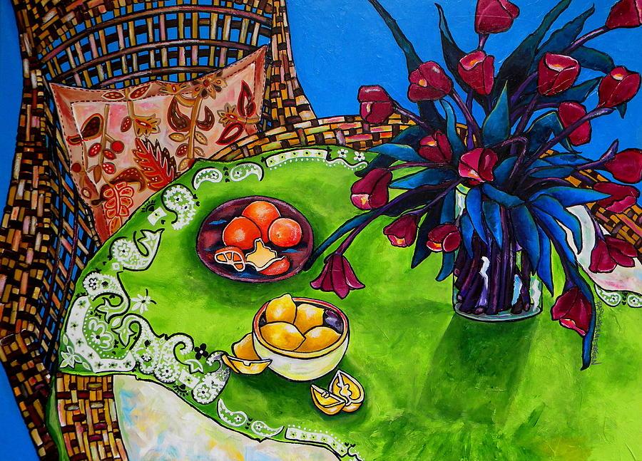 Tropical Painting - Tulips Sea Side by Patti Schermerhorn